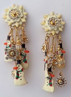 "Lunch at the Ritz Clip Earrings ""SNOWY DAY"" Beautiful Condition   MSRP $260"