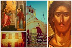 Byzantine Icon Painting Seminar in February in Athens, Greece - More Infos: www.ikonkurs.webs.com & byzantineiconpainting@gmail.com Painting Courses, Byzantine Icons, Athens Greece, February, Movie Posters, Art, Art Background, Film Poster, Kunst