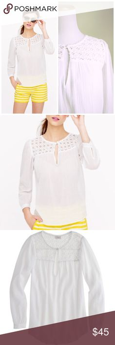 """J Crew Embroidered Gauze Too Featuring a custom-developed lace trim inspired by the famous tilework of Marrakech, this gauzy cotton top has us dreaming of strolling the stalls at a Moroccan bazaar (or in reality, just hitting our local flea market).  Cotton. Body length: 25 5/8"""". Bracelet sleeves. Dry clean. J. Crew Tops"""