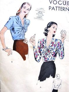 1940s BEAUTIFUL Blouse Pattern VOGUE 5246  Easy To Make V Neckline With Tie Bow Bust 34 Vintage Sewing Pattern