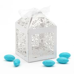 White Stars Laser Cut Cubic Favor Boxes With Ribbons (Set of 12) (050026310)