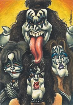 Caricature of Kiss Funny Caricatures, Celebrity Caricatures, Celebrity Drawings, Cartoon Faces, Funny Faces, Cartoon Art, Kiss Art, Caricature Drawing, Wow Art
