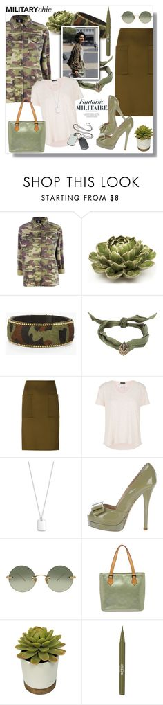 """Military Chic"" by kimzarad1 ❤ liked on Polyvore featuring Boohoo, OTTO, Chico's, Yves Saint Laurent, By Malene Birger, ATM by Anthony Thomas Melillo, Lauren Ralph Lauren, Fendi, Linda Farrow and Louis Vuitton"