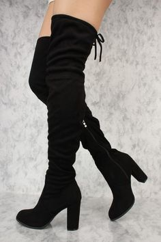 These sexy and stylish thigh high heel boots are a perfect fit to wear on top of some cute leggings and a nice shirt to go out with. Featuring, a rounded pointed closed toe, faux suede material, round Thigh High Boots Heels, Chunky High Heels, Black High Heels, Heeled Boots, Ankle Boots, Boot Heels, Cute Boots, Sexy Boots, Boutique Fashion