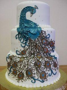 navy blue brown white peacock wedding cake