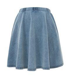 Pale Blue (Blue) Mid Blue Denim Jersey Skater Skirt   271303645   New Look