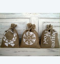 Decorated Burlap Bags - Christmas Decorations