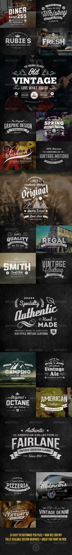 Buy 24 Vintage Labels and Logos Bundle by GraphicMonkee on GraphicRiver. Overview This collection features 24 vintage or retro styled labels. These could be used as web badges, logos, or pri. Vintage Typography, Typography Logo, Typography Design, Vintage Labels, Retro Vintage, Badge Design, Design Reference, Graphic Design Inspiration, Vintage Designs