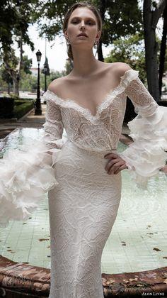 alon livne 2017 bridal long sleeves off the shoulder full embroidered lace elegant sheath wedding dress (dominique) mv -- Alon Livne White 2017 Wedding Dresses