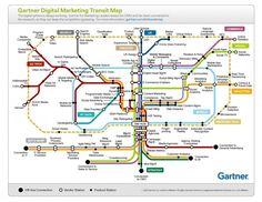 """Was auf den ersten Blick wie der Linienfahrplan von Düsseldorf aussieht, zeigt in Wahrheit die vielfältigen Verknüpfungen der Instrumente des Online-Marketings. Mit der """"Digital Marketing Transit Map"""" reduziert das Marktforschungsunternehmen Gartner die Komplexität des digitalen Dschungels und verschafft einen guten Überblick."""