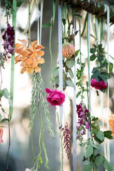 wedding arch hanging florals / http://www.deerpearlflowers.com/hanging-wedding-decor-ideas/2/