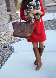 Gap : Red Dress(I'm wearing an XS) | Begg & Co. : Scarf, sold out, try this | Loeffler Randall : Boots | Celine : Bag, try this, this In between moving boxes and wrapping paper! I …