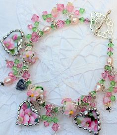 Broken China Bracelet, China Heart Charms, Royal Albert Apple Blossom, Handmade Lampwork Beads, Sterling Silver