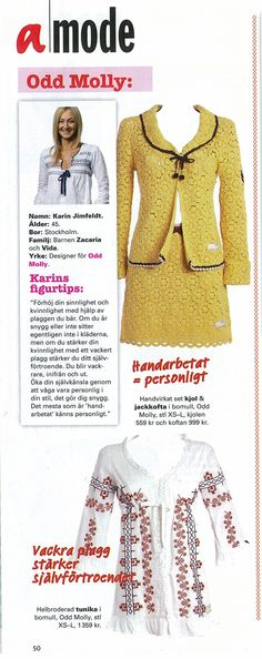 Odd Molly crochet top and skirt made by hand and embroidered blouse in Amelia no. 6 2006 Sweden