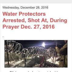 "CANNON BALL RIVER, North Dakota -- Water Protectors gathered for prayer, and climbed to the top of Turtle Island, yesterday, Tuesday, Dec. 27, 2016. There were at least four arrests reported, with projectiles fired at water protectors by police. Johnny Dangers reports as the struggle to protect the Missouri and Cannon Ball Rivers, and Treaty Land, continues. ""Water Protectors peacefully gathered on the Barricaded Bridge. Humvees and many police vehicles waiting closely behind. Five, less…"