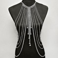 Sexy Silver color Draped Body Chain by BitterSweetBowtiq on Etsy, $23.99