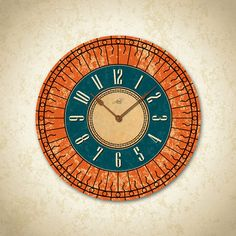 TUSCAN SUNSHINE  14in Large Wall Clock in Teal by AbeloClocks, $65.00