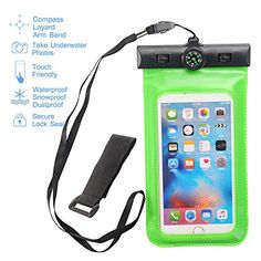 MCUK Universal Waterproof Case for iPhone 6S 6 Plus 5SGalaxy S6 Note 4 LG G4  Best Water Proof Dustproof Snowproof Pouch Bag  Includes FREE Armband  Compass  Lanyard Green >>> Continue to the product at the image link.