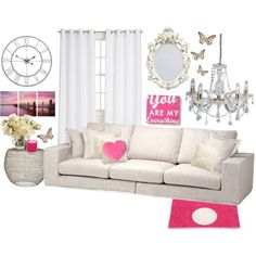 """""""Pink Living Room"""" by kerry-searle on Polyvore http://www.polyvore.com/pink_living_room/set?id=103943432"""