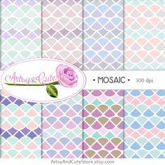 Pastel mosaic digital papers.