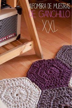 Sweet&Knit: Tutorial de Alfombra de Ganchillo XXL de muestras hexagonal