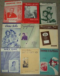 3A Lot 9 Vintage Sheet Music Mixed Variety 1930's -1960's Collectible  marie2art