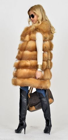 fox furs - saga gold fox fur vest hood