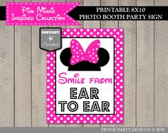 Minnie Mouse Birthday Party - Smile from Ear to Ear Photo Booth Sign / Decoration DivinePartyDesign on Etsy