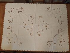 Marvelous vintage white hand emroidered cutwork tableclothe from the Large Table, Cutwork, Scandinavian Interior, Overlays, Embroidery Designs, Craft Supplies, Etsy Shop, Eyebrows, Crochet Doilies