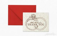 Weddingmanaged. Send some loveto your guests for sharing thebig day with you! EACH SET INCLUDES: • Thank You Card(pre-folded, blank inside) • Blank Envelope, inFirecracker Red Not included: Each thank you cardrequires a 47¢stampto mail.