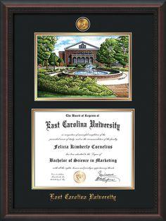 ecu diploma frame mahogany braid wwatercolor black on gold mat - Diploma Frames With Tassel Holder