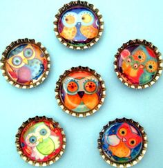 Handmade Bottlecap Magnets - Lauren Alexander Owls