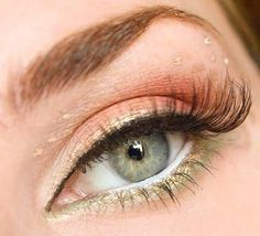 Gold, coral, and soft green eye make-up Glitter Eye Makeup, Eye Makeup Art, Eye Makeup Tips, Contour Makeup, Makeup Blog, Hair Makeup, Makeup Ideas, Contouring, Makeup Tricks