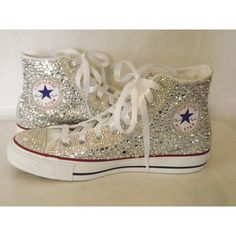 CUSTOM Bling Rhinestone Totally Covered Converse Chuck Talor High Top... (1.095 BRL) ❤ liked on Polyvore featuring shoes, sneakers, white hi top sneakers, white rhinestone shoes, star sneakers, white shoes and hi tops