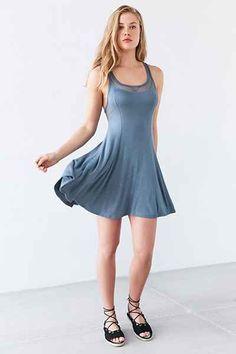 Silence + Noise Chance Mesh Racerback Mini Dress - Urban Outfitters