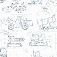York Wallcoverings 56 sq. ft. Cool Kids Construction Blueprint Wallpaper KS2350 at The Home Depot - Mobile
