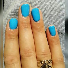 My natural nails, painted a bright and happy colour.