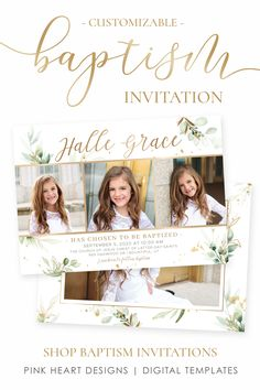 Invite family and friends to your daughter's baptism day with this beautiful baptism invitation. The elegant design will highlight your daughter's stunning baptism pictures! Save time getting ready for her special day with this easy to use baptism template. Click to view baptism invitation templates! #baptisminvitation #ldsbaptism #girlbaptism #floralbaptism #ldsbaptism #ldsinvitation Baptism Invitations Girl, Pink Invitations, Birthday Invitation Templates, Invitation Design, Invite, Baptism Announcement, Birth Announcement Template, Baptism Pictures, Baptism Ideas