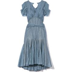 Smokey Blue Printed Chiffon Cocktail Dress (€3.550) ❤ liked on Polyvore featuring dresses, short dresses, short summer dresses, blue chiffon dress, short blue cocktail dresses, blue summer dress and chiffon cocktail dresses