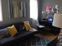 Modern Home Office And Second Guest Room. Futon CB2. Rug Target