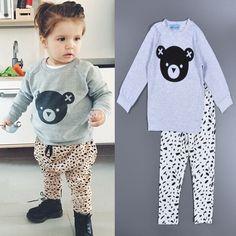 Bobo Choses toddler girl clothing set Bear Head Cartoon baby boy girl clothes T shirt + Spot pant Christmas gift roupas infanti