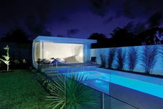With minimal space in the backyard, sometimes a long narrow pool is the way to go. Great for laps, or just enjoying the atmosphere of the small, covered sitting area at the end of the pool. The glass fence ensures safety without making the space feel enclosed or cut off from the rest of the backyard.