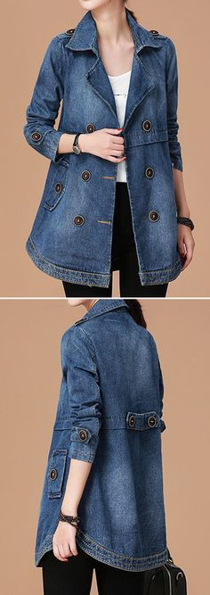 Women's Denim Jackets : Long Sleeve Notch Collar Button Embellished Denim Coat. Look Fashion, Denim Fashion, Autumn Fashion, Fashion Outfits, Womens Fashion, Fashion Coat, Denham Jeans, Denim Mantel, Cool Outfits