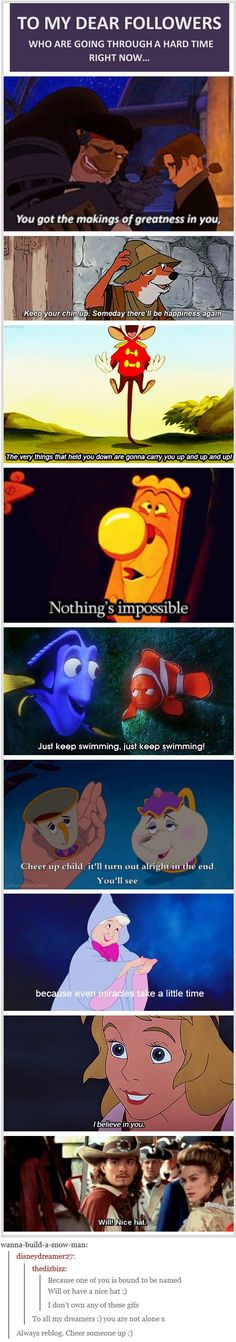 To My Dear Followers who are going through a hard time right now [gifset] - this is so sweet and then the last gif, hahaha! - Treasure Planet, Robin Hood, Dumbo, Alice in Wonderland, Finding Nemo, Beauty and the Beast, Cinderella, The Black Cauldron, Pirates of the Caribbean.
