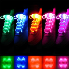 1 Pair Led Light Luminous Shoelace Fashion Glowing Shoe laces Flashing Colored Neon Shoestrings chaussures led  Party Laces