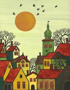 Folk Art Paintings | PRINT OF ABSTRACT FOLK ART PAINTING RYTA TREES HOUSES CITYSCAPE BLACK ...