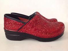 DANSKO Red Glitter Professional Clogs Size 37 6.5-7 PRISTINE LN! #Dansko #Clogs #WeartoWork