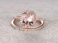 1.85 Carat Oval Morganite Wedding Set Diamond Bridal Ring 14k Rose Gold Halo Thin Stacking Matching Band