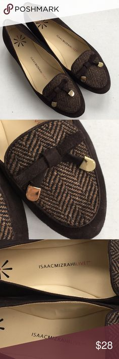 """Like new Isaac Mizrahi Live leather shoes Tried on but never worn out; Brown sueded leather and tweed uppers with goldtone hardware; 1/2"""" heel; From Isaac Mizrahi's QVC line; Smoke-free/pet-free home. Isaac Mizrahi Shoes Flats & Loafers"""