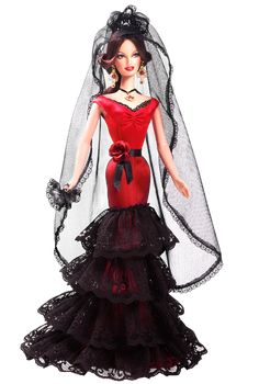 Spain is famous around the world for flamenco, an alluring art form, which combines dancing and handclapping with acoustic guitar, singing, and chanting. Barbie doll celebrates this rich cultural heritage in a stunning red and black dress accented with a black veil cascading down her back and a red rose at her waist. Large necklace and earrings add to the doll's ethnic appeal, as does exotic face paint.